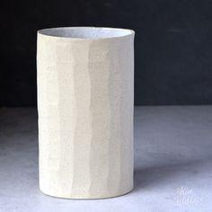 Oval stoneware vase ~ white on stone