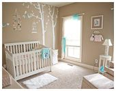 Soft, Serene Nursery with Touches of Pink and Aqua  Love the idea of a tree on the wall in baby's room