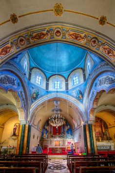 Inside the Catholic Cathedral situated at the Catholic quarter at Fira #Santorini #Greece