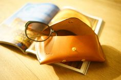 Handmade Leather Sunglasses Case Sunglasses pouch/ by aRunningPig