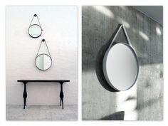 Strap Mirror from Hay, Silicone strap, powder-coated steel #BLTD | Wood | Decor | Entry | Entrance | Foyer | Hallway | Accessories