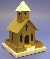 PDF files of houses and churches  What You Will Need  If you are going to build vintage-style cardboard houses, stop throwing away used, clean cardboard yesterday. Save cereal boxes, the backs of writing tablets, anything flat, firm and clean, that you can save. Please keep some corrogated cardboard on hand, too - it makes the best bases. In addition, for this project you'll need:        A sharp mat knife or Xacto knife (or both)      A stiff metal ruler      Elmer's white Glue-All. A glue…