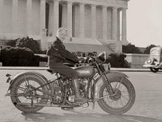 In September 1937 Mrs. Sally Halterman became the first woman to be granted a license to operate a motorcycle in Washington D.C. Immediately after receiving her permit, Mrs. Halterman was initiated into the D.C. Motorcycle Club - the only girl ever to be accorded this honor at the time.