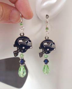 Seattle Seahawks Earrings, Seahawks Jewelry, Green and Navy Crystal Helmet Charm Earrings, Pro Football Seahawks Bling Accessory Fanwear by scbeachbling on Etsy