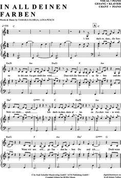 In all deinen Farben (Klavier + Gesang) Wolkenfrei -Vanessa Mai [PDF Noten] >>> KLICK auf die Noten um Reinzuhören <<< Noten und Playback zum Download für verschiedene Instrumente bei notendownload Blockflöte, Querflöte, Gesang, Keyboard, Klavier, Klarinette, Saxophon, Trompete, Posaune, Violine, Violoncello, E-Bass, und andere ...