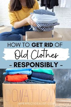 Decluttering your closet? Before you take your clothes to a thrift store or donation bin, try some of these other methods (unfortunately, a lot of clothes in thrift stores get thrown away, and many donation bins are for-profit companies charading as charities). | sustainable fashion | clean your closet | best ways to get rid of clothes | zero waste living | zero waste move