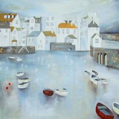 Harbour Reflections II - Lucy Young Seaside Art, Lyme Regis, Young Art, House Quilts, Album Design, Naive Art, Artist Painting, Landscape Paintings, Photo Art
