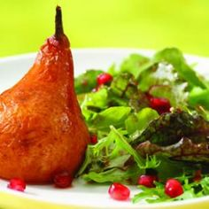 Roasted Pear & Arugula Salad with Pomegranate-Chipotle Vinaigrette Recipe | Eating Well
