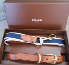 Coach Heritage Leather Dog Collar/Web/ Leather Leash Set