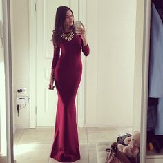 Long maroon dress# Gold necklace# Fashion