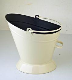 Coal Scuttle Fireside Cream Waterloo Bucket Kindling Ash Log Fuel Fire Hod  #Inglenook