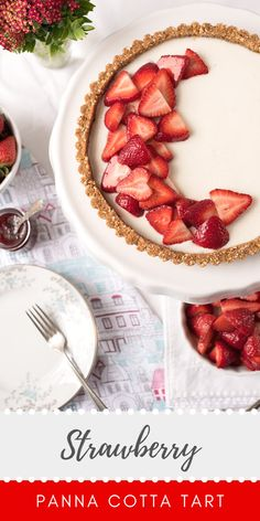This Strawberry Panna Cotta Tart has a sweet almond, graham cracker crust layered with a creamy filling. Juicy, sweet strawberries are the star of this icebox dessert. It's a splendid way to highlight the beauty and sweetness of fresh, in-season strawberries. Tart Recipes, Best Dessert Recipes, Cheesecake Recipes, Pastry Recipes, Amazing Recipes, Dessert Ideas, Icebox Desserts, Easy Desserts, Delicious Desserts