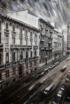 "Valerio D'Ospina, ""Strada della Finestra,"" oil on panel. Urban Life, Urban Art, Skyline Painting, Cityscape Art, Italian Artist, City Art, Urban Landscape, Love Art, Painting & Drawing"