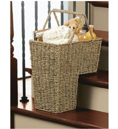 a stair-shaped basket for putting stuff that needs to go upstairs. very clever.