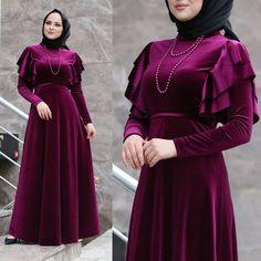 The Dress, High Neck Dress, Dress Long, Iranian Women Fashion, Womens Fashion, Shadi Dresses, Girls Dresses, Velvet, How To Make