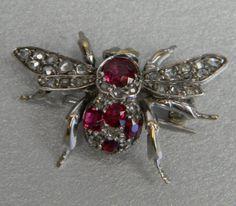 Ruby & diamond bee brooch English c. 1870