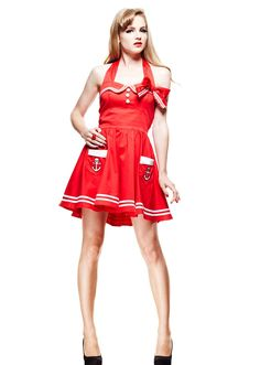 Hell Bunny Retro Sailor Pinup Mini Red Sailor Halter Dress