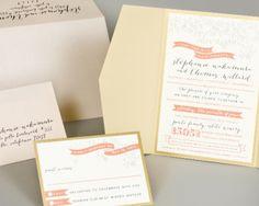 Beautiful soft gold and coral wedding invitation - pocket fold
