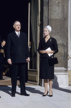 President de Gaulle welcomes Princess Grace to the Elysees Palace