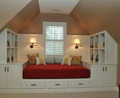 Slanted ceiling bed idea