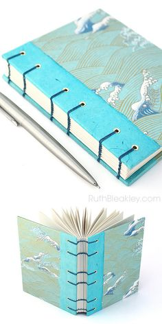 Aqua Waves #Journal - handmade coptic stitch handbound book by Ruth Bleakley from Japanese yuzen paper | #nautical #gift