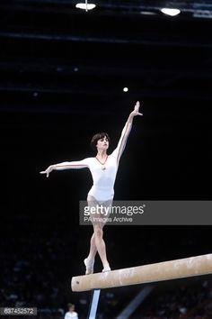 Romania's Nadia Comaneci in action on the beam