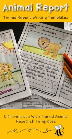"""Report writing can be challenging for students. Use these tiered report writing templates with your students to meet their diverse learning needs while writing about animals. The """"Animal Report Writing"""" package is aligned with the common core and contains materials to support your students as they write an animal report."""
