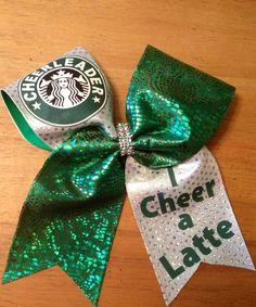 cheer bow , cheerbow , cheer , cheer leader, starbucks cheer bow, green cheer bow, bella bows ,cool cheer bows,i cheer a latte cheer bow by Bellabows76 on Etsy