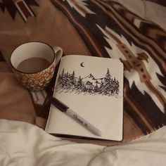 woods, coffee and sketches. {but tea instead of coffee} My Planner Colibri, Karten Diy, Moleskine, Artsy Fartsy, Art Drawings, Drawing Art, Art Photography, Winter Photography, Illustration Art
