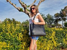 Black Leather Tote, Handbag With Zipper, Women Leather Bag - 100% Calf Leather, Handmade in Greece. 4 COLORS AVAILABLE! by LeatherStrata on Etsy
