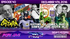 This week, we continue our series diving into the history of comics in pop culture, as we progress through the silver age of comics, where the strips leap to the small screen on television. We explore how Timely Comics was instrumental in aiding Stan Lee and Jack Kirby to create some of the most iconic names in comic book pop culture history. Geek Culture, Pop Culture, Batman History, Silver Age Comics, Jack Kirby, Stan Lee, Instrumental, Diving, Science Fiction