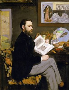 Edouard Manet - Portrait of Emile Zola (1840-1902) 1868 Zola was interested by artists who had been rejected a writer, there is a published brochure on his desk written about Manet.  Japanese art and screen