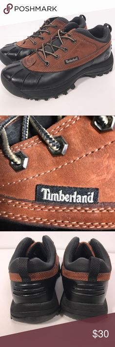 "Men's TIMBERLAND low lace brown and black boots! Men's TIMBERLAND ""Canard"" low lace brown and black boots! Size 7M. Propel, flex, support, brake. Leather and man-made materials. Excellent, like new condition. Timberland Shoes Rain & Snow Boots"