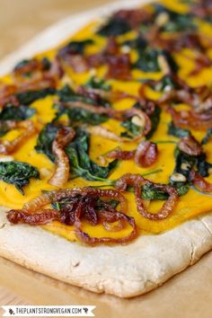 A Vegan Pizza Recipe That'll Blow Your Mind? Cheezy Butternut Squash Pizza + Garlicky Spinich & Caramelized Onions