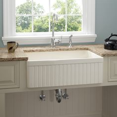 "30"" Baldwin Single Bowl Fireclay Farmhouse Kitchen Sink - Fluted Apron"