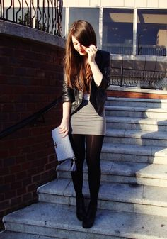 light grey tight fitted mini skirt with black hose, black ankle boots, and a black leather jacket. Holiday Outfits, Fall Winter Outfits, Winter Fashion, Dressy Outfits, Cool Outfits, Fashion Outfits, Skirt Outfits, Grey Mini Skirt, Mini Skirts