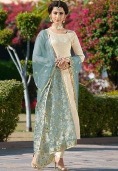 Off White And Teal Traditionally Embellished Pant Suit - Pakistani dresses Designer Salwar Kameez, Pakistani Designer Suits, Pakistani Salwar Kameez, Churidar Suits, Pakistani Dress Design, Indian Designer Wear, Pakistani Dresses, Indian Dresses, Indian Outfits
