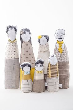 Soft sculptur Family dolls -  Four adults and three figures of boys dressed in beige, yellow, fawn dotted plaid - timo handmade eco dolls