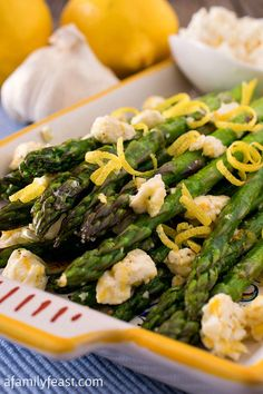 Asparagus with Lemon and Feta - A super simple and flavorful side dish that takes just minutes to prepare!