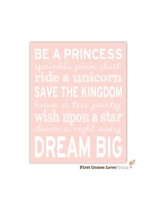 Purple Playroom Wall Art Princess Bedroom by FirstComesLovePrints
