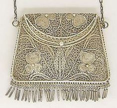 Antique Sterling Silver Filigree Chatelaine Purse