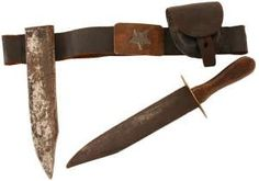 Confederate Bowie knife with black leather belt and leather cap box