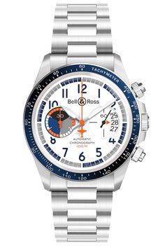 The Bell & Ross BR Racing Bird Chronograph on steel bracelet features a case in satin-polished steel, a tachymeter-scale bezel ring of anodized blue aluminum, and it is powered by the automatic movement, Bell Ross, Luxury Watches For Men, Beautiful Watches, Watch Brands, Cool Watches, Men's Watches, Bezel Ring, Races Style, Racing
