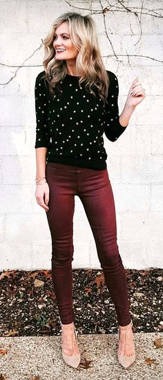 62a86d2dba women s black and white long sleeve top with maroon skinny pants Beige