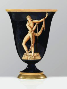 Gio Ponti 1891 - 1979 VASE IL MAESTRO DI DANZA, VERS 1923-1930 'IL MAESTRO DI DANZA', A GLAZED EARTHENWARE VASE BY GIO PONTI FOR RICHARD GINORI, ON LATER BRONZE FOOT, CIRCA 1923-1930