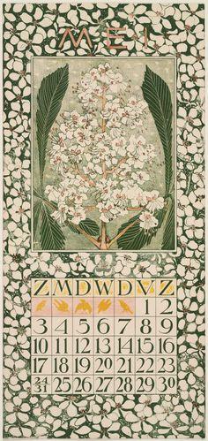 Chestnut Blossoms May calendar page by Theodorus van Hoytema and text courtesy MFA Boston Calendar Girls, Print Calendar, Calendar Pages, Vintage Images, Vintage Posters, Vintage Art, Belle Epoque, Kalender Design, Art Nouveau Illustration