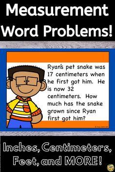 Measurement Word Problems - Length (Customary and Metric). NO PREP! Math 2, Fun Math, Common Core Math, Common Core Standards, Grade My Teacher, Second Grade, Grade 1, Metric System, Word Problems