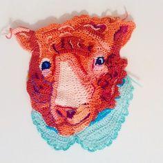 Beautiful Animal #Art from Etsy #Crochet Portrait Artist KatikaCrochetArt