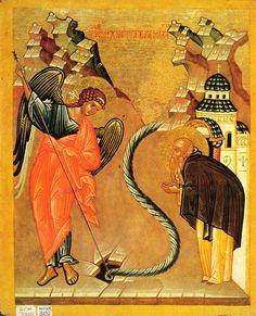 Чудо архангела Михаила в Хонех [Конец XV — начало XVI вв.] 24 × 19.5 см