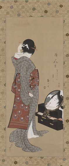 Woman Looking at Herself in a Mirror, about 1805, by Katsushika Hokusai (Japanese, 1760-1849), Hanging scroll; ink, color, and gold on silk
